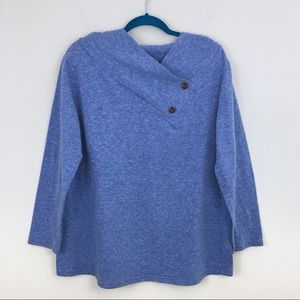 Tops - Blue Button Wrap Neck Pullover Sweatshirt
